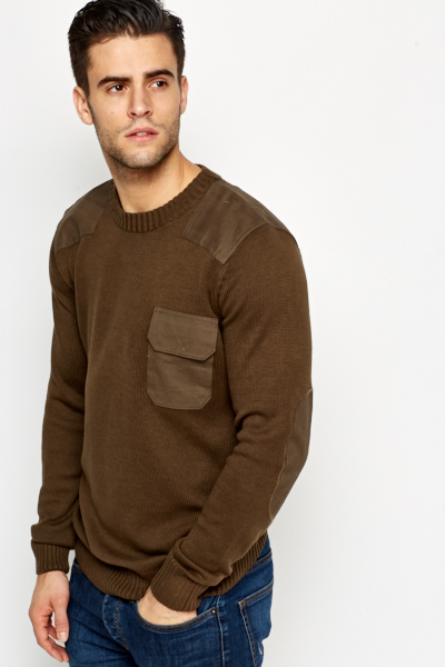Contrast Elbow Patch Knit Jumper