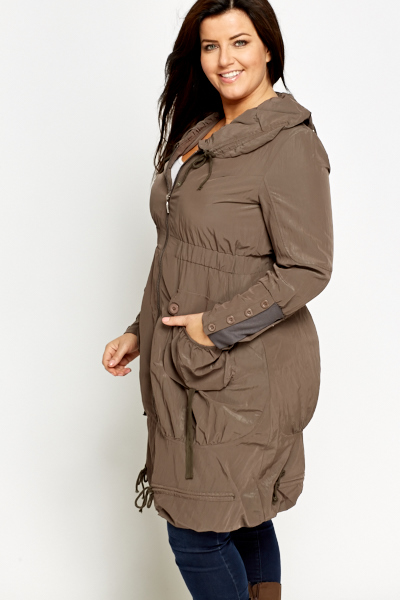Elasticated Cowl Neck Coat