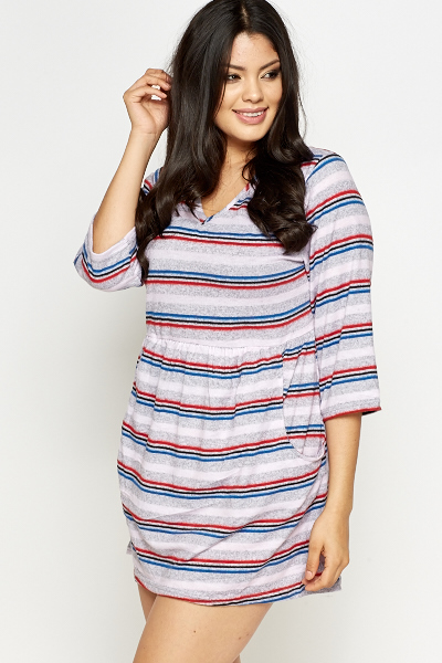 Fleece Striped Skater Dress