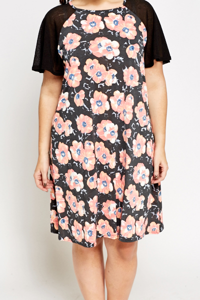 Floral Contrast Shift Dress