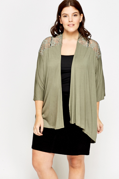 Olive Lace Insert Open Cardigan