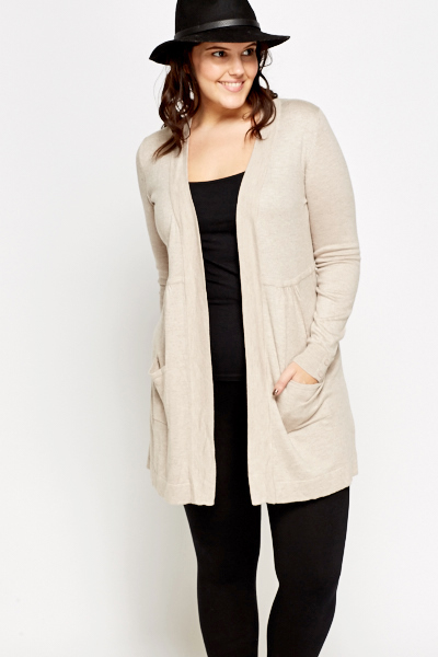 Open Beige Soft Cardigan
