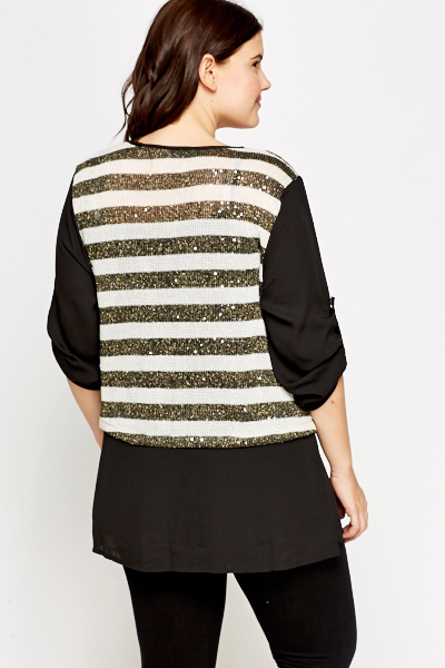 Sequin Striped Panel Contrast Top
