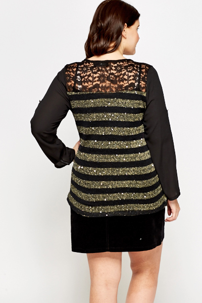 Sheer Striped Sequin Panel Top