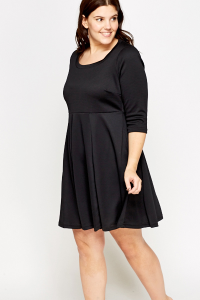 Textured Round Neck Skater Dress