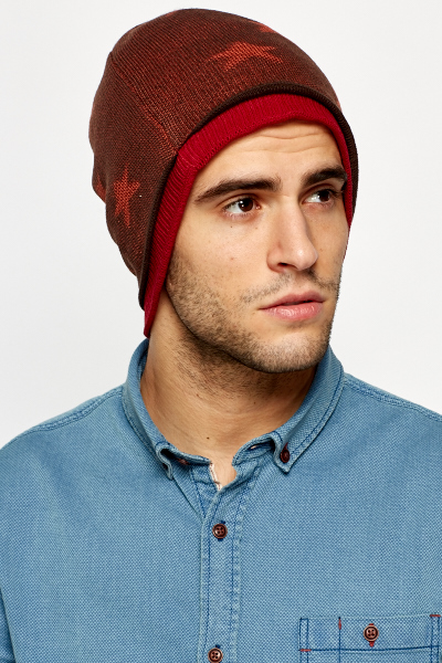 Two Tone Star Print Beanie