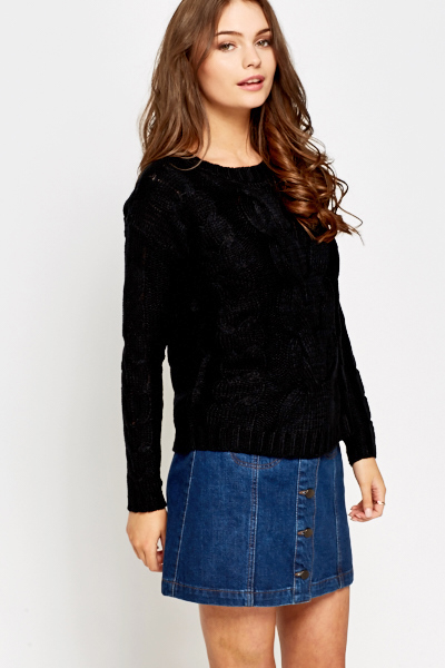 Black Plait Knit Jumper
