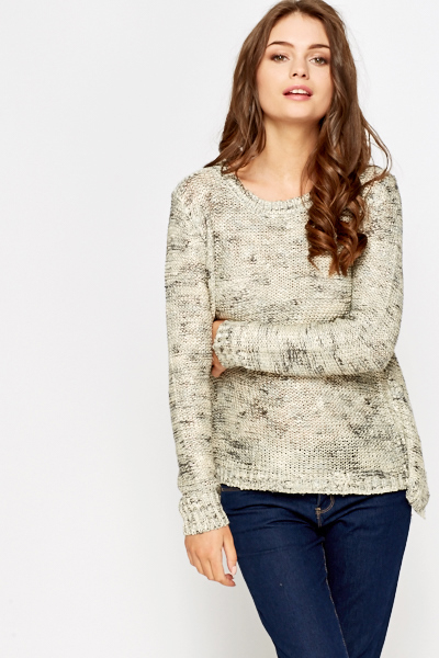 Contrast Back Metallic Knit Top