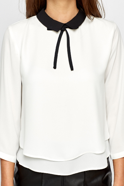 Contrast Collar White Blouse