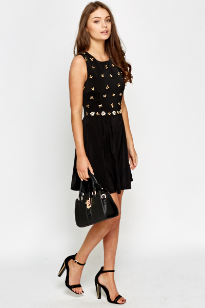 Embellished Sleeveless Skater Dress