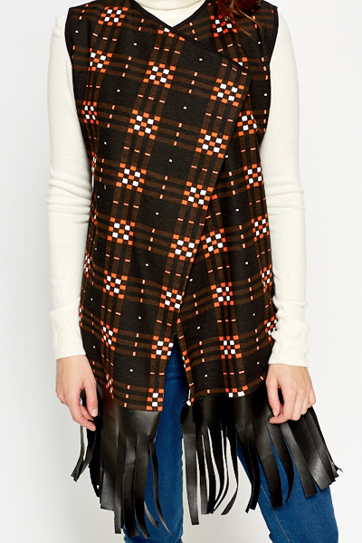 Faux Leather Fringed Hem Jacket