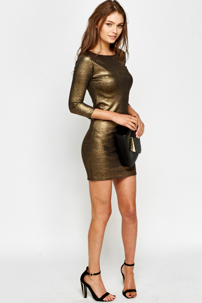 Gold Metallic Bodycon Dress