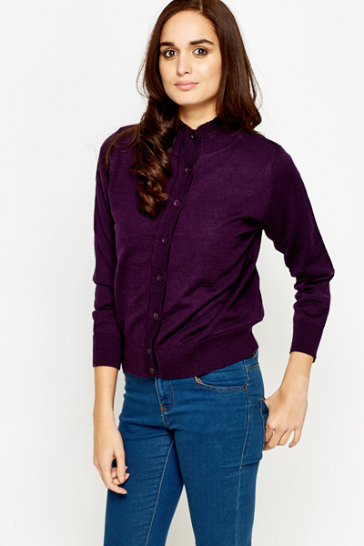 High Neck Button Up Cardigan