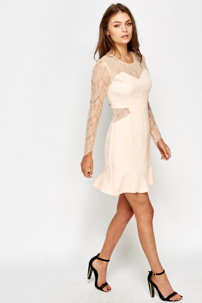 Lace Insert Flare Hem Dress
