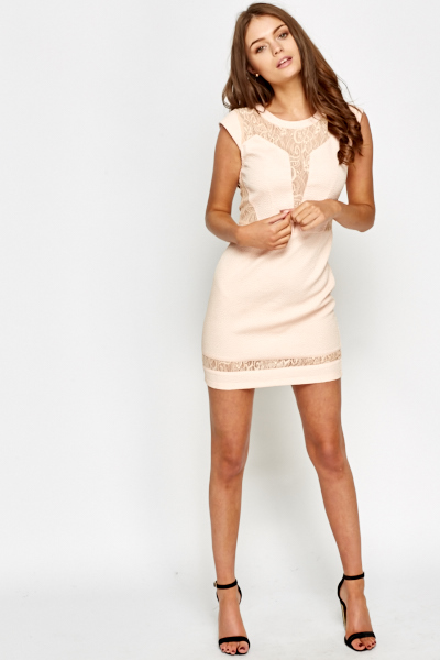 Lace Insert Mini Dress