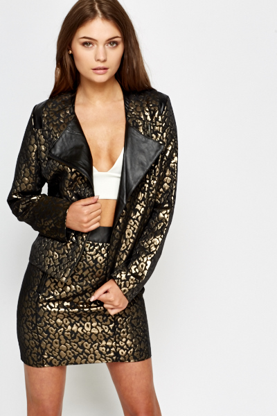 Leopard Print Metallic Jacket