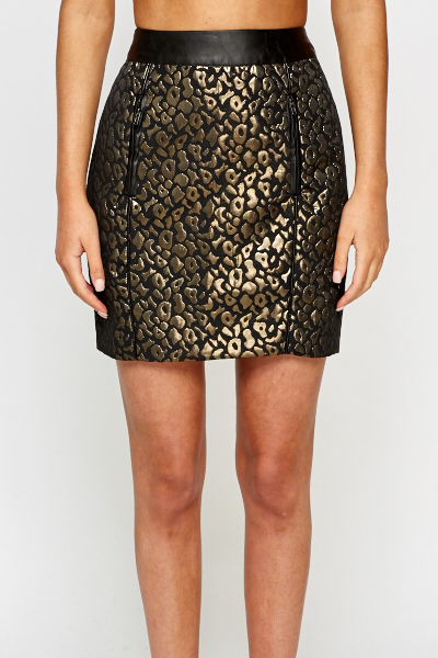Leopard Print Metallic Skirt