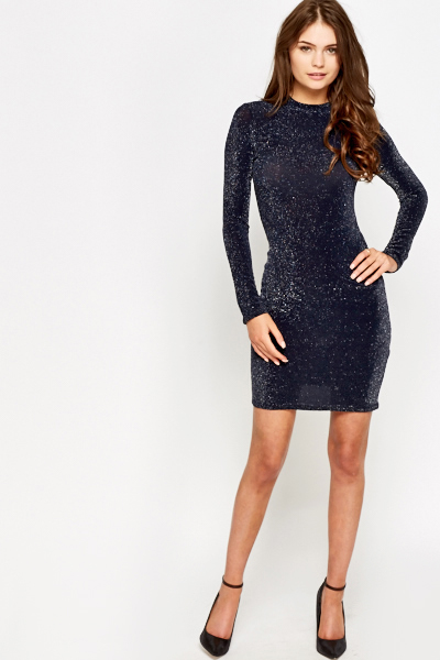 Metallic Long Sleeve Bodycon Dress