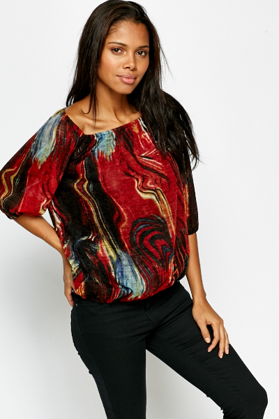 Paint Print Off Shoulder Top
