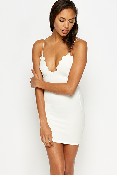 Scallop Trim Bodycon Dress