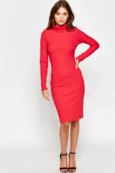 Turtle Neck Bodycon Midi Dress