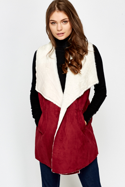 Velour Sleeveless Contrast Jacket