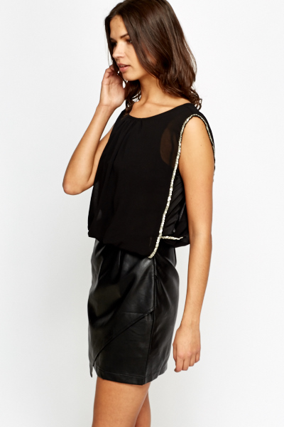 Contrast Faux Leather Skirt Dress