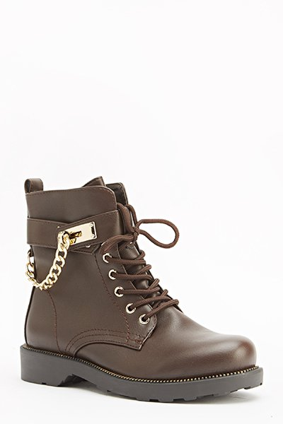 Faux Leather Side Chain Boots
