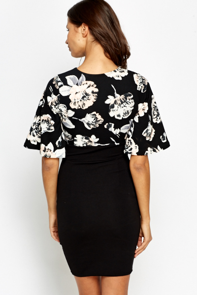 Floral Printed Bodice Bodycon Dress