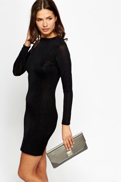 18f7baafe7ef Long Sleeves Metallic Bodycon Dress - Just £5