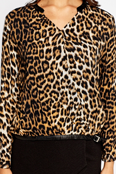 PU Collar Leopard Print Top