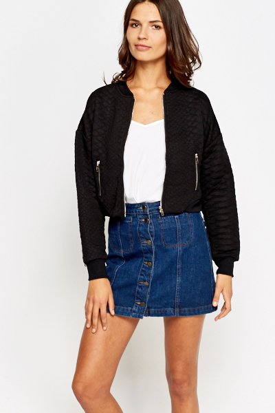 Quilted Cropped Bomber Jacket