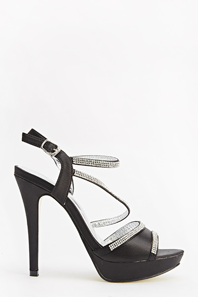 Black Diamante Strappy Heels