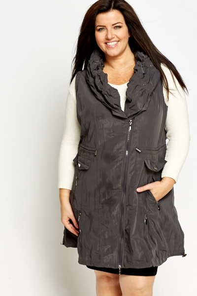 Cowl Neck Sleeveless Jacket