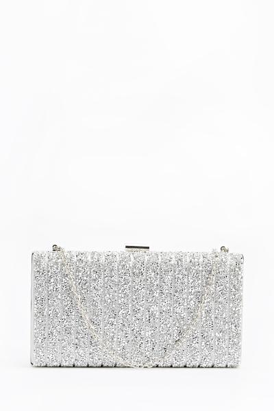 002d5b4a53 Dark Silver Box Clutch Bag - Just £5