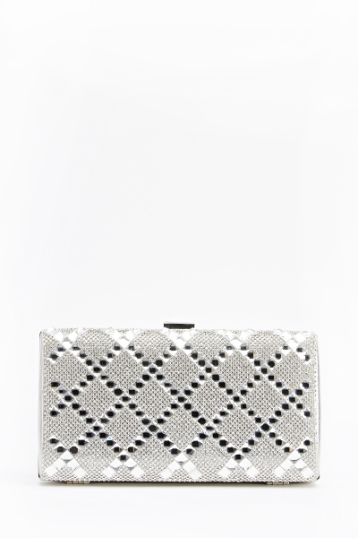 Encrusted Contrast Hard Back Clutch