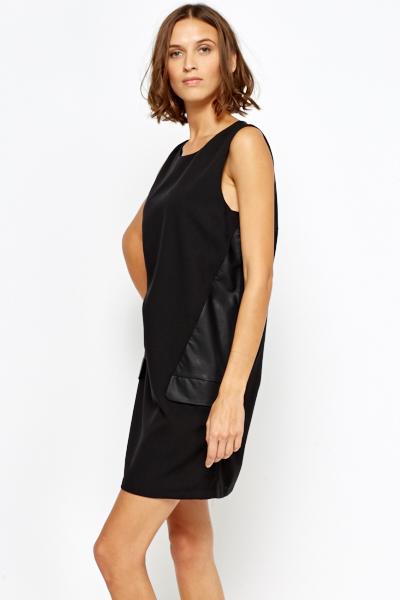 Faux Leather Insert A-Line Dress