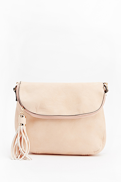 Faux Leather Tassel Shoulder Bag