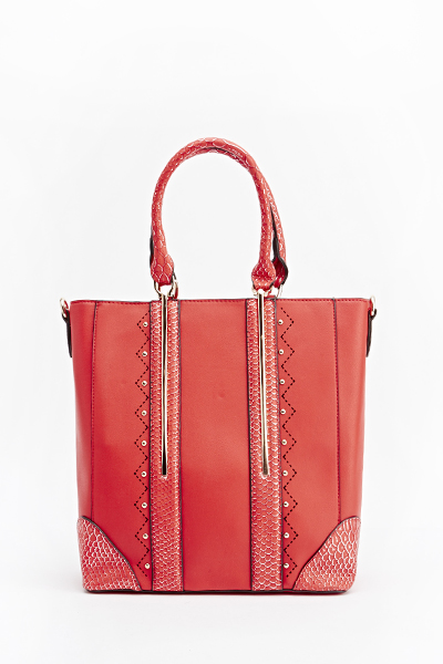 Mock Croc Studded Handbag