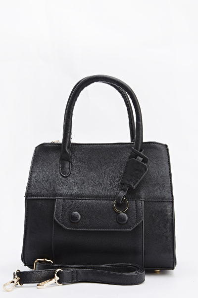 Pocket Front Faux Leather Bag