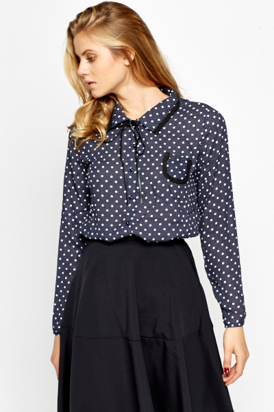Polka Dot Bow Neck Blouse