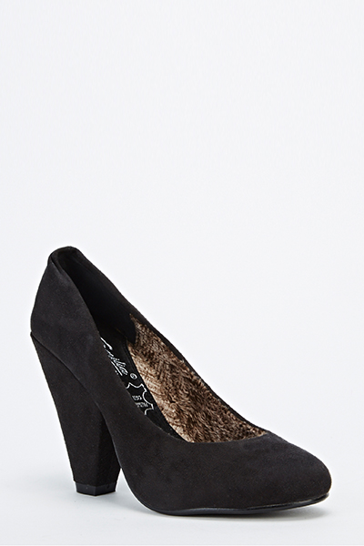 Suedette Chunky Mid Heels