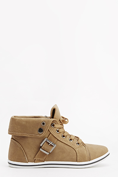 Tan Faux Leather Trainers