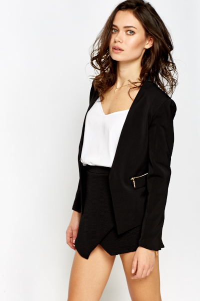 Zip Detail Casual Blazer