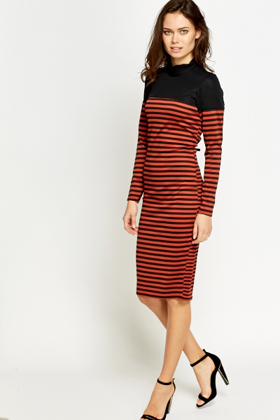 Brick Striped Midi Dress