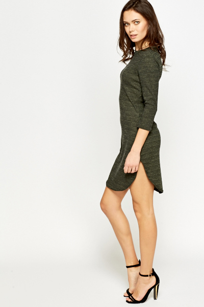 Dark Olive Curved Hem Dress