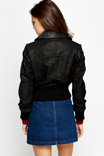 Faux Leather Black Cropped Jacket