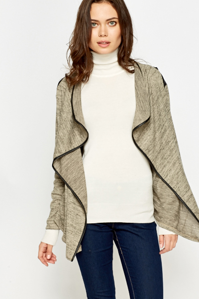 Faux Leather Insert Waterfall Cardigan