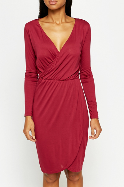Plunge Neck Wrap Dress