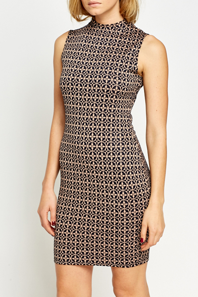 Beige Printed Bodycon Dress